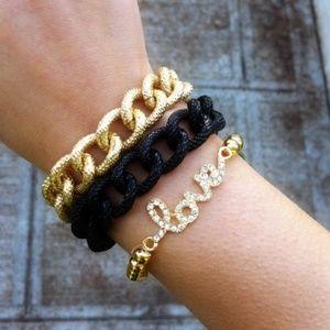 T&J DESIGNS Love Bracelet + Chain Combo Set